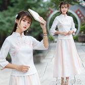 民國漢服女新款唐裝改良旗袍兩件套中國風連身裙套裝漢服茶服 可然精品