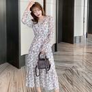 長袖洋裝 V領顯瘦雪紡連身裙-媚儷香檳-【FD0208】