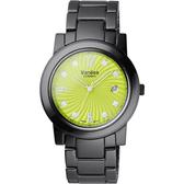 Vaness 誘惑圓舞曲陶瓷腕錶-綠面黑