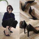 細跟單鞋女鞋尖頭2018春季韓版新款中跟淺口職業黑色工作高跟鞋女第七公社