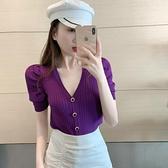 紫色v領泡泡袖短袖t恤女夏潮2020年新款性感修身針織薄款開衫上衣