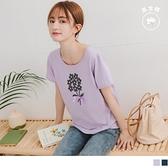 《AB12984》閨蜜系列.可愛花朵亮片綴蝴蝶結高含棉T恤/上衣 OrangeBear