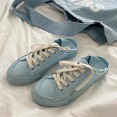 帆布鞋女 兩穿帆布鞋女港風一腳蹬懶人板鞋夏季韓版休閒小白鞋潮ins【快速出貨】