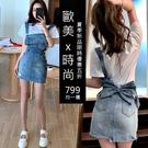 夏季韓國連線男友風破損感牛仔短裙 花朵短袖T恤+立體蝴蝶牛仔吊帶裙