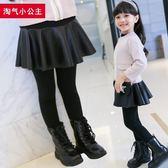 女童打底褲冬裝褲裙秋洋氣兒童裙褲假兩件加絨加厚皮裙外穿長褲-ifashion
