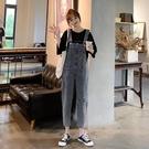 破洞減齡牛仔背帶褲女寬鬆夏季新款韓版學生復古顯瘦九分褲潮 快速出貨