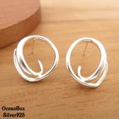 ☆§海洋盒子§☆優雅迷人。不規則C型環狀貼耳針式925純銀耳環