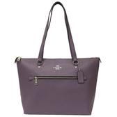【COACH】防刮牛皮前拉鍊口袋大托特包(藤紫)