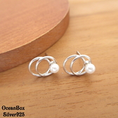 §海洋盒子§小巧可愛。雙環珍珠針式925純銀耳環《925純銀+外鍍專櫃級正白K》