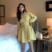 VK旗艦店 韓系甜美蝴蝶結系帶襯衫裙長袖洋裝