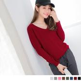 《FA1527-》純色仿羊毛細針織V領上衣 OB嚴選