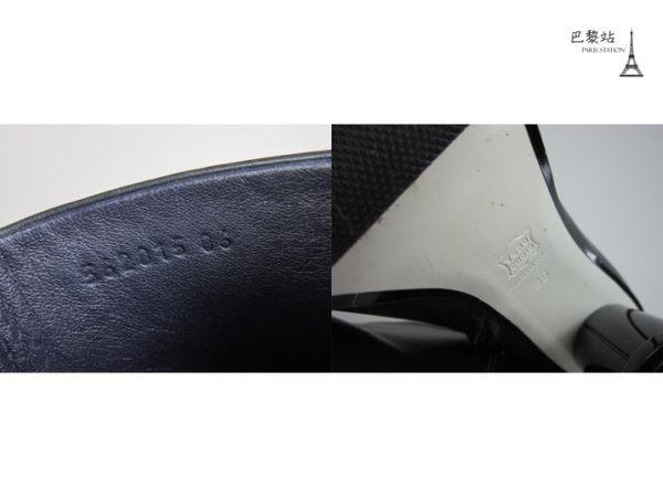 【巴黎站二手名牌專賣店】*現貨*LOEWE 羅意威 真品*三色線條黑色皮革木屐跟靴 (36號)