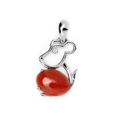 【大東山樑御】十二生肖鼠年天然紅珊瑚吊飾墜子925純銀鍍白K
