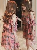 吊帶洋裝 年新品春季碎花連身裙裙子仙女超仙森系夏【快速出貨】