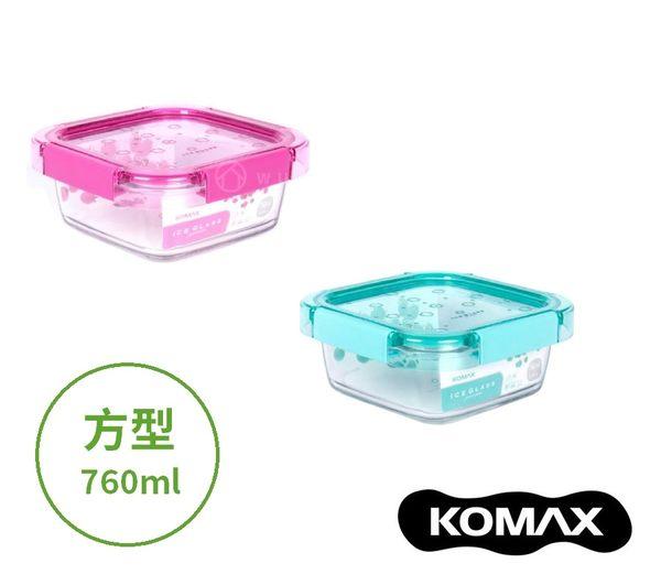 韓國KOMAX Ice Glass冰鑽方型玻璃保鮮盒760ml (共2色) 餐盒 便當盒 儲物盒
