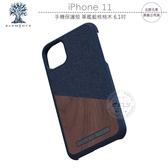 《飛翔無線3C》北歐元素 iPhone 11 手機保護殼 軍艦藍核桃木 6.1吋│公司貨│天然木材 工藝布料