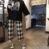 寬褲小黑貓 黑白軟妹格子褲女韓版原宿ulzzang學生寬鬆復古bf九分寬管