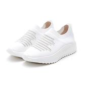 MICHELLE PARK 新華麗運動休閒風條紋彈性水鑽網面鏤空透氣平底鞋-白色