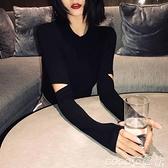 熱賣打底衫 2021年秋季新款韓版黑色破洞長袖t恤女修身針織打底衫內搭上衣服 coco
