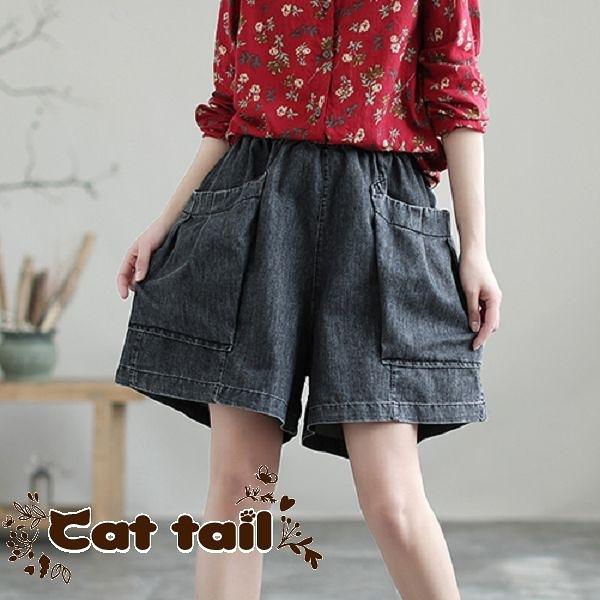 《貓尾巴》DY-01399 牛仔高腰款大口袋短褲(森林系 日系 棉麻 文青 清新)