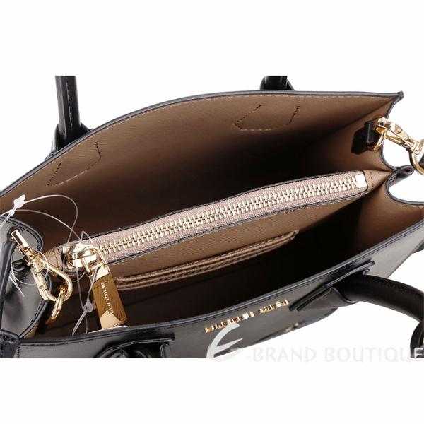Michael Kors Mercer LOVE 中型鉚釘綴飾雙層手提肩背包(黑色) 1820596-01