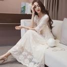 長洋裝 蕾絲伴娘短袖白色 韓版 婚禮小禮...
