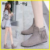流蘇短靴-流蘇短靴平底圓頭內增高孕婦鞋馬丁靴坡跟磨砂裸靴