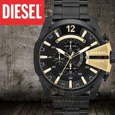 DIESEL國際品牌Mega Chief霸氣計時腕錶-黑/金/51mm DZ4338公司貨/另類設計/潮流