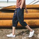 短褲男士亞麻七分褲薄款韓版潮流寬鬆休閒大碼棉麻沙灘7分褲【果果精品】