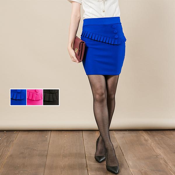 OL上班尾牙活動展場 細折花寶藍彈性窄裙【Sebiro西米羅男女套裝制服】73000005