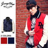 棒球外套 JerryShop【XX20816】美式學院風立領植絨字體棒球外套 (2色)刷毛外套