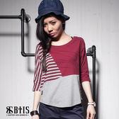 【BTIS】條紋素面飛鼠 短袖上衣 / 酒紅色