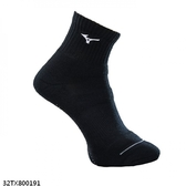 Mizuno Socks [32TX800191] 男襪 運動 慢跑 路跑 休閒 厚底 短筒襪 黑白  25-27 cm