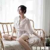 情趣睡衣性感騷文胸誘惑挑逗激情套裝超騷女內衣睡裙露乳透明睡袍  自由角落