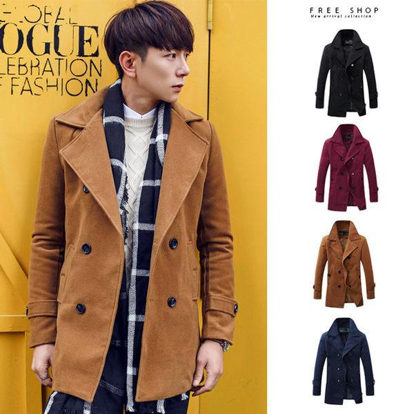 [現貨] 韓版紳士英倫風時尚品味質感翻領圓扣中長版立領毛呢雙排釦大衣外套 有大尺碼【QZZZ92】