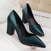 歐美風墨綠色復古氣質粗跟高跟鞋淺口尖頭單鞋女工作鞋