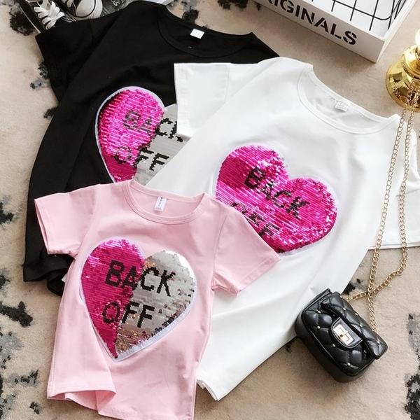 *╮小衣衫S13╭*親子款夏季新品變色亮片愛心短袖T恤(兒童款)1080214