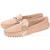 TOD'S Double T 金屬設計豆豆休閒鞋(女鞋/奶茶色) 1630209-32