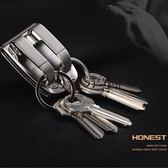 618好康又一發  韓版不銹鋼皮帶式金屬雙環鑰匙扣