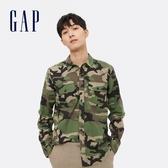 Gap男裝 法蘭絨撞色格紋長袖襯衫 619445-綠色迷彩