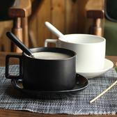 簡約咖啡杯陶瓷馬克杯套裝帶碟勺子北歐下午茶咖啡器具艾美時尚衣櫥