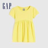 Gap女幼童 活力亮色褶皺設計短袖上衣 584254-黃色