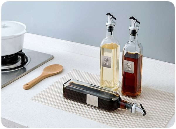 【按壓式油瓶】500ml廚房防漏無鉛玻璃油壺 油嘴調味瓶 醬油瓶 醋瓶 酒瓶 油罐