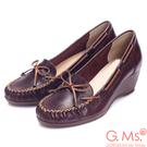 G.Ms. MIT系列-手工縫線蝴蝶結全真皮楔型鞋-知性咖