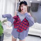 出清$388 韓國學院風襯衫文藝格子條紋...