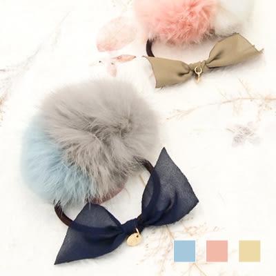 〔APM飾品〕日本Kaza 雪紡蝴蝶雙色毛球髮圈 (藍x灰) (粉x白) (褐x黃)