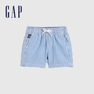 Gap嬰兒 清爽純棉條紋短褲 836796-藍色條紋