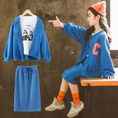 女童運動套裝裙韓版中大童裝兒童外套半身裙T恤潮【聚可愛】