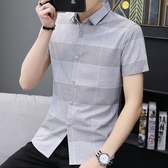 男短袖襯衫 韓版男裝上衣 夏季新品翻領格子修身型襯衫上班員工裝襯衣休閒格紋襯衫cs218