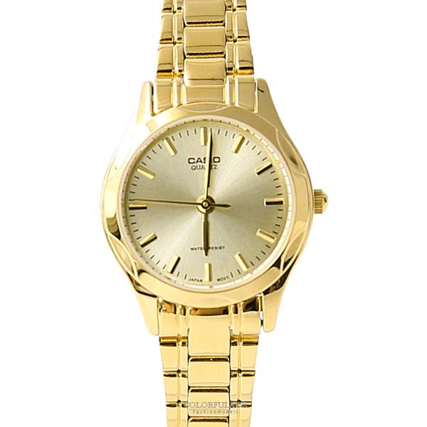 CASIO卡西歐簡約俐落金色女腕錶 經典自信閃耀【NEC122】